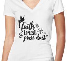 Faith, Trust, & Pixie Dust - White Women's Fitted V-Neck T-Shirt