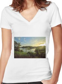 Sunset over the Panamanian jungle  Women's Fitted V-Neck T-Shirt