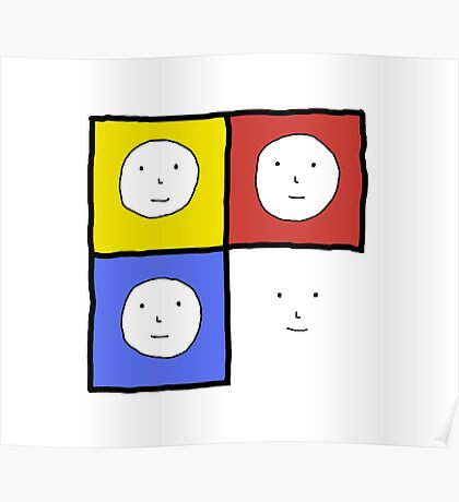 Tri Color 4 Face Design | Many Faces Series Poster