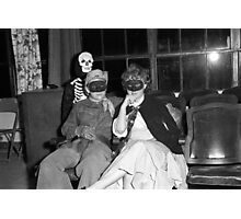 1940s Found Photo Halloween Card - Masked Partiers 4 Photographic Print