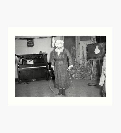 1940s Found Photo Halloween Card - Jump Rope Lady Art Print