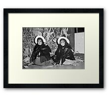 1940s Found Photo Halloween Card - Twin Witches 1 Framed Print