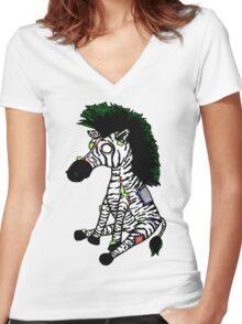 Zazzles the Zombie Zebra Women's Fitted V-Neck T-Shirt