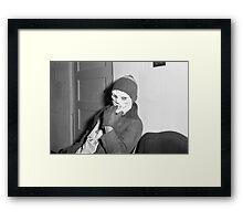 1940s Found Photo Halloween Card - Skeleton Man Framed Print