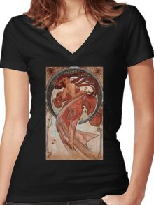 'Dance' by Alphonse Mucha (Reproduction) Women's Fitted V-Neck T-Shirt