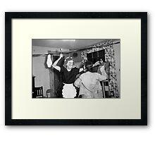 1940s Found Photo Halloween Card - Fight! Framed Print