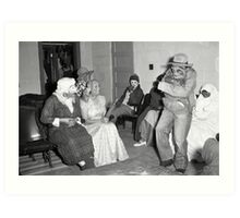 1940s Found Photo Halloween Card - Masked Partiers 5 Art Print