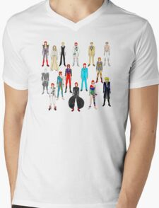 Bowie Scattered Fashion Mens V-Neck T-Shirt