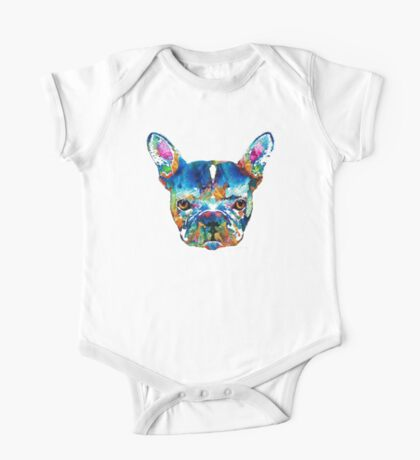 Colorful French Bulldog Dog Art By Sharon Cummings One Piece - Short Sleeve