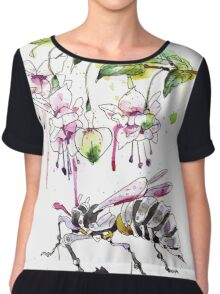A Flower & Mechanical Wasp Chiffon Top