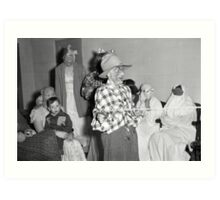 1940s Found Photo Halloween Card - Masked Partiers 7 Art Print