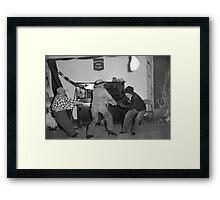 1940s Found Photo Halloween Card - Tug o' War Framed Print