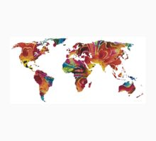 Map of The World 2 -Colorful Abstract Art One Piece - Long Sleeve