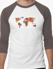 Map of The World 2 -Colorful Abstract Art Men's Baseball ¾ T-Shirt