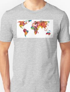 Map of The World 2 -Colorful Abstract Art Unisex T-Shirt