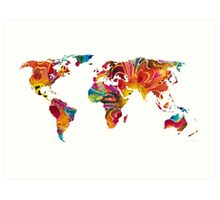 Map of The World 2 -Colorful Abstract Art Art Print