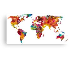 Map of The World 2 -Colorful Abstract Art Canvas Print