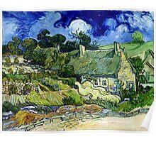 Vincent van Gogh Thatched Cottage at Cordeville Poster
