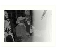 1940s Found Photo Halloween Card - Masked Partiers 13 Art Print