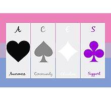 Ace symbols on Biromantic flag Photographic Print
