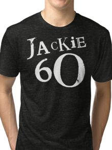 Jackie 60 Classic White Logo on Black Gear Tri-blend T-Shirt