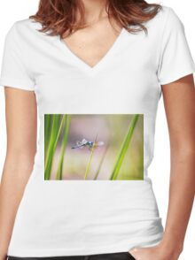 Dragonfly by Pond #1  Women's Fitted V-Neck T-Shirt
