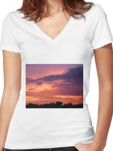 Shades of Purple, Red and Gold Women's Fitted V-Neck T-Shirt