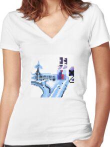 OK Computer Pixel Art Women's Fitted V-Neck T-Shirt