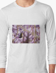 A bumblebee buzy on a Wisteria flower Long Sleeve T-Shirt
