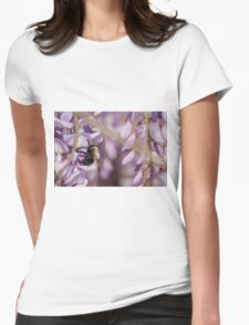 A bumblebee buzy on a Wisteria flower Womens Fitted T-Shirt
