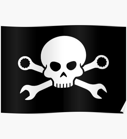 Skull 'n' Tools - Screw Pirate 1 (white) Poster