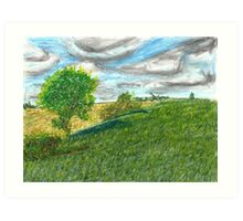 Illinois Farmland Oil Pastel Art Print