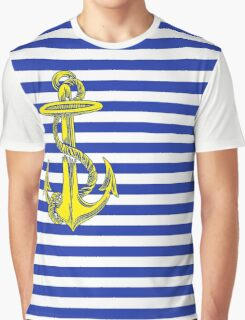 Navy Nautical Stripes with Gold Anchor Graphic T-Shirt