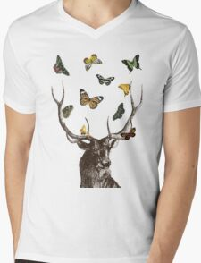 The Stag & Butterflies Mens V-Neck T-Shirt