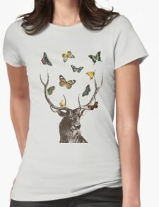 The Stag & Butterflies Womens Fitted T-Shirt