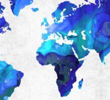 World Map 17 - Blue Art By Sharon Cummings Sticker