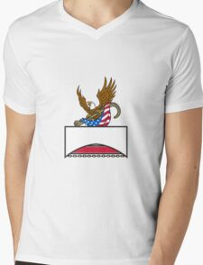 American Eagle Clutching Towing J Hook Flag Retro Mens V-Neck T-Shirt