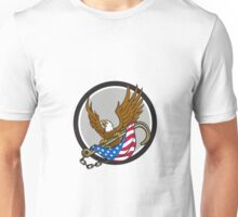 American Eagle Clutching Towing J Hook Flag Circle Retro Unisex T-Shirt