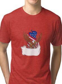 American Eagle Clutching Towing J Hook Flag Unfurled Drawing Tri-blend T-Shirt