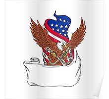 American Eagle Clutching Towing J Hook Flag Unfurled Drawing Poster