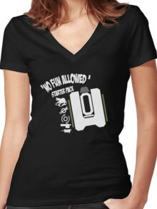 Bastion No Fun Allowed Women's Fitted V-Neck T-Shirt