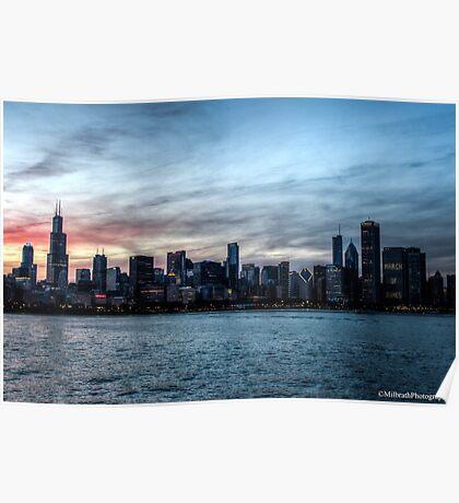 Chicago Skyline - Twilight Poster