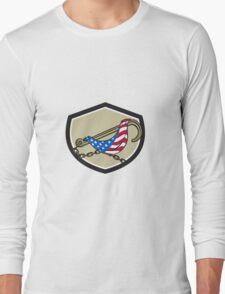 Towing J Hook Flag Draped Shield Retro Long Sleeve T-Shirt