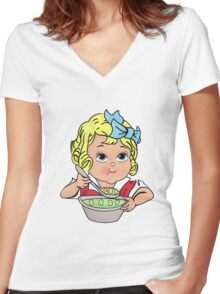 Cry Baby Alphabet Soup Women's Fitted V-Neck T-Shirt