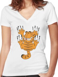 Funny Garfield Scratching Women's Fitted V-Neck T-Shirt