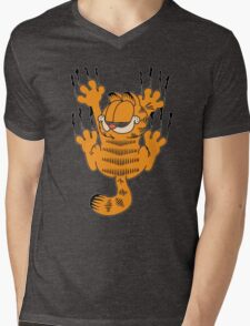 Funny Garfield Scratching Mens V-Neck T-Shirt