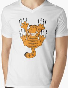 Funny Garfield Scratching Mens V-Neck T-Shirt