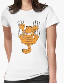 Funny Garfield Scratching Womens Fitted T-Shirt