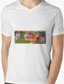 Pop-Art Colorized One U. S. Dollar Bill Reverse Mens V-Neck T-Shirt