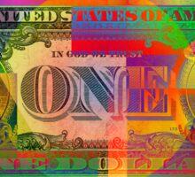 Pop-Art Colorized One U. S. Dollar Bill Reverse Sticker